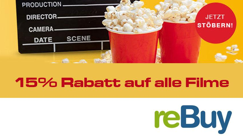 15 % Rabatt auf alle Filme rebuy deal Artiklebild neu