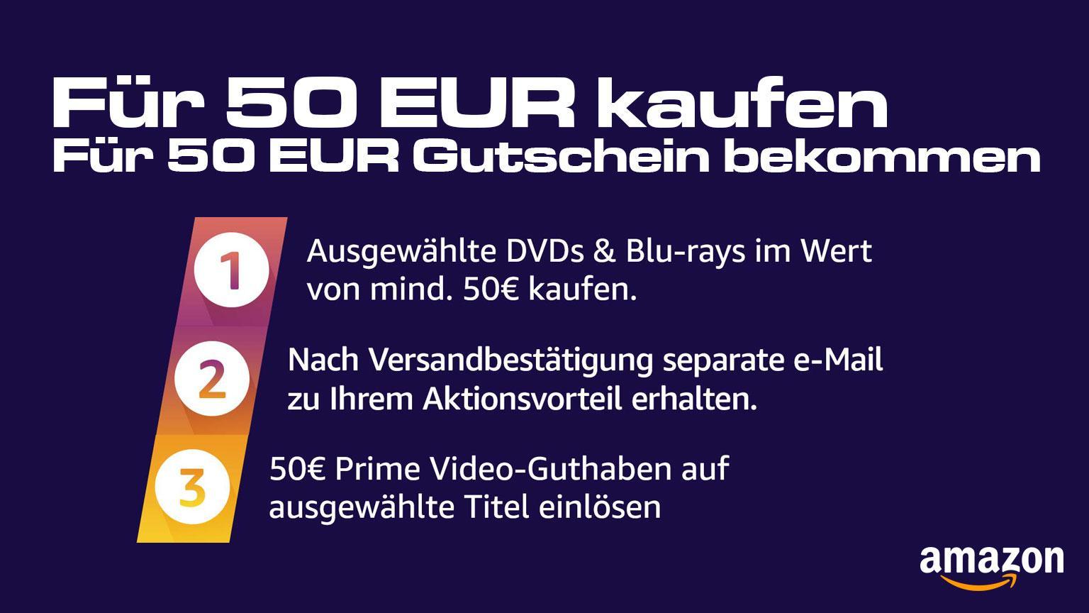 Für 50 EUR Blu-ray oder DVD kaufen und für 50 EUR Streaming Gutschein erhalten Amazon.de Deal Artikelbild