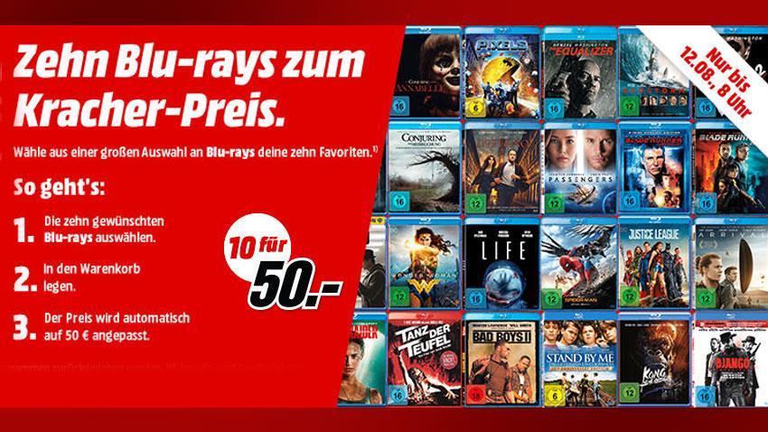 MediaMarkt Deal 50 EUR BLu-ray für 10 Stück Artieklbild