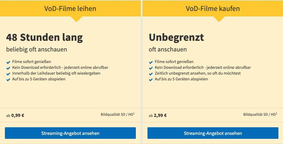 VideoBuster.de Filme kostenlos streamen Angebot Abonnement Filme leihen Video on Demand VoD