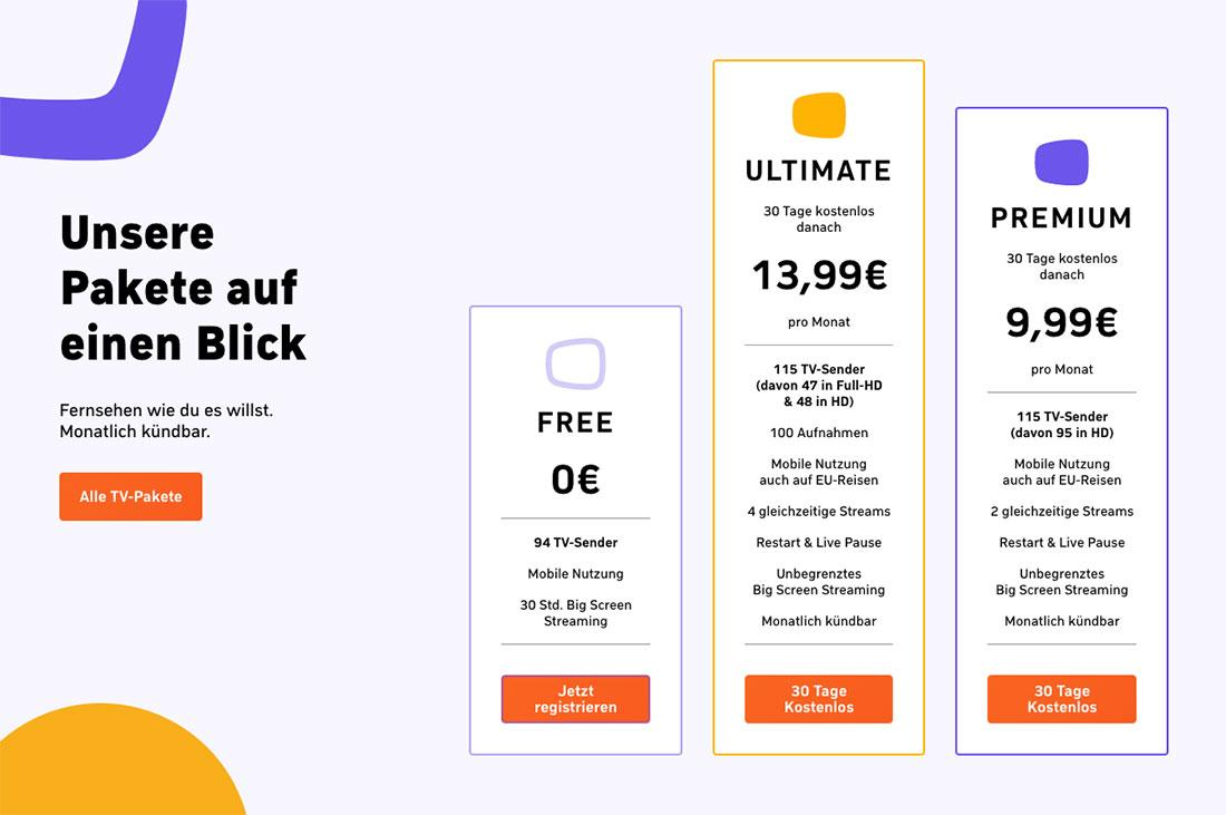 Zattoo Einfach fernsehen Streamingsender kostenlos drei Pakete Premium Ultimate Free Probemonat Drei Pakete zur Auswahl