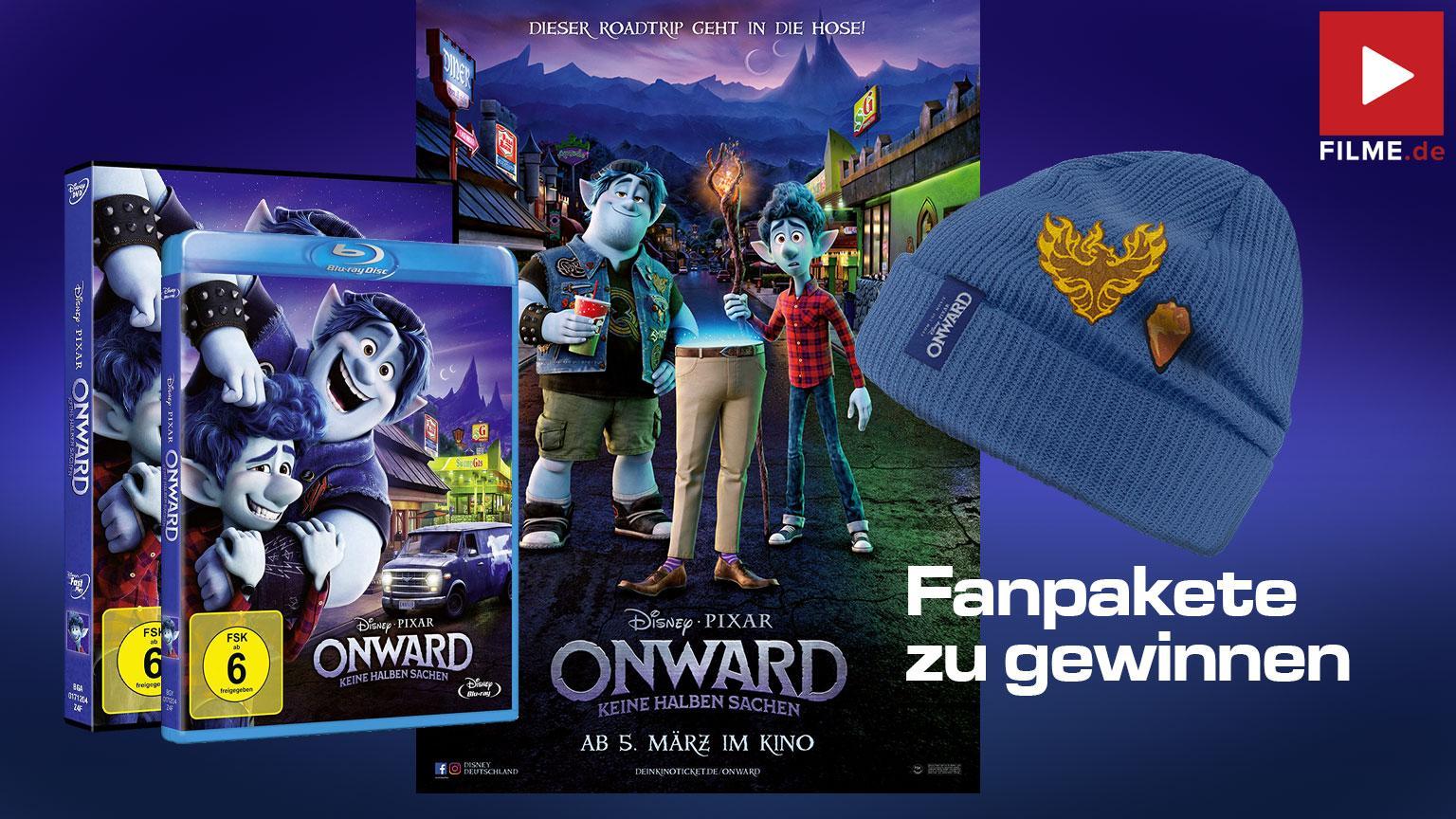 ONWARD: KEINE HALBEN SACHEN Gewinnspiel Artikelbild Blu-ray DVD Mütze Poster gewinnen shop kaufen