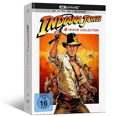 """Alle vier """"Indiana-Jones-Filmabenteuer"""" erstmalig in 4K Ultra HD im Steelbook, im Digipak und digital shop kaufen Cover"""