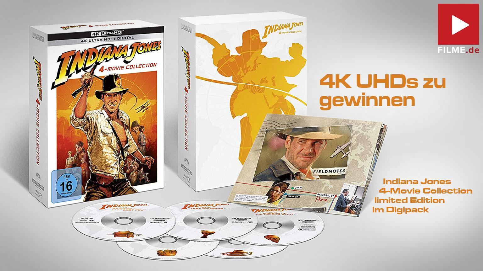 Indiana Jones – 4-Movie Collection als 4K UHD Digipak Gewinnspiel gewinnen Artikelbild